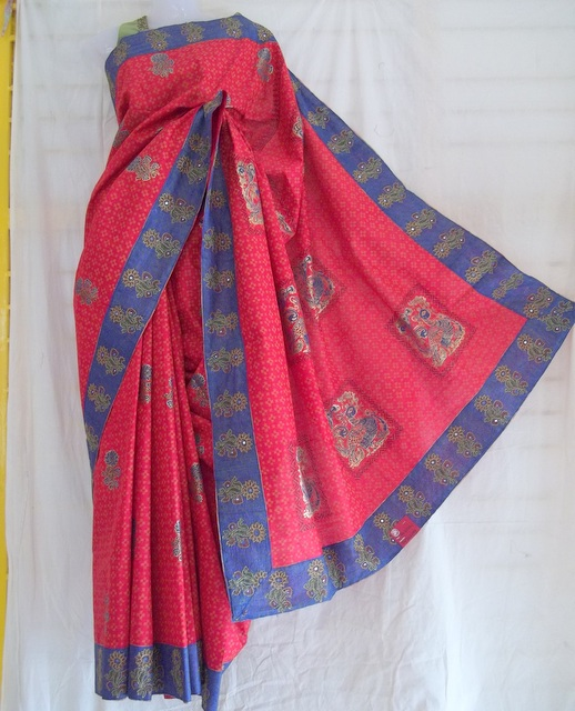 Red tussar saree with block printing and embroidery