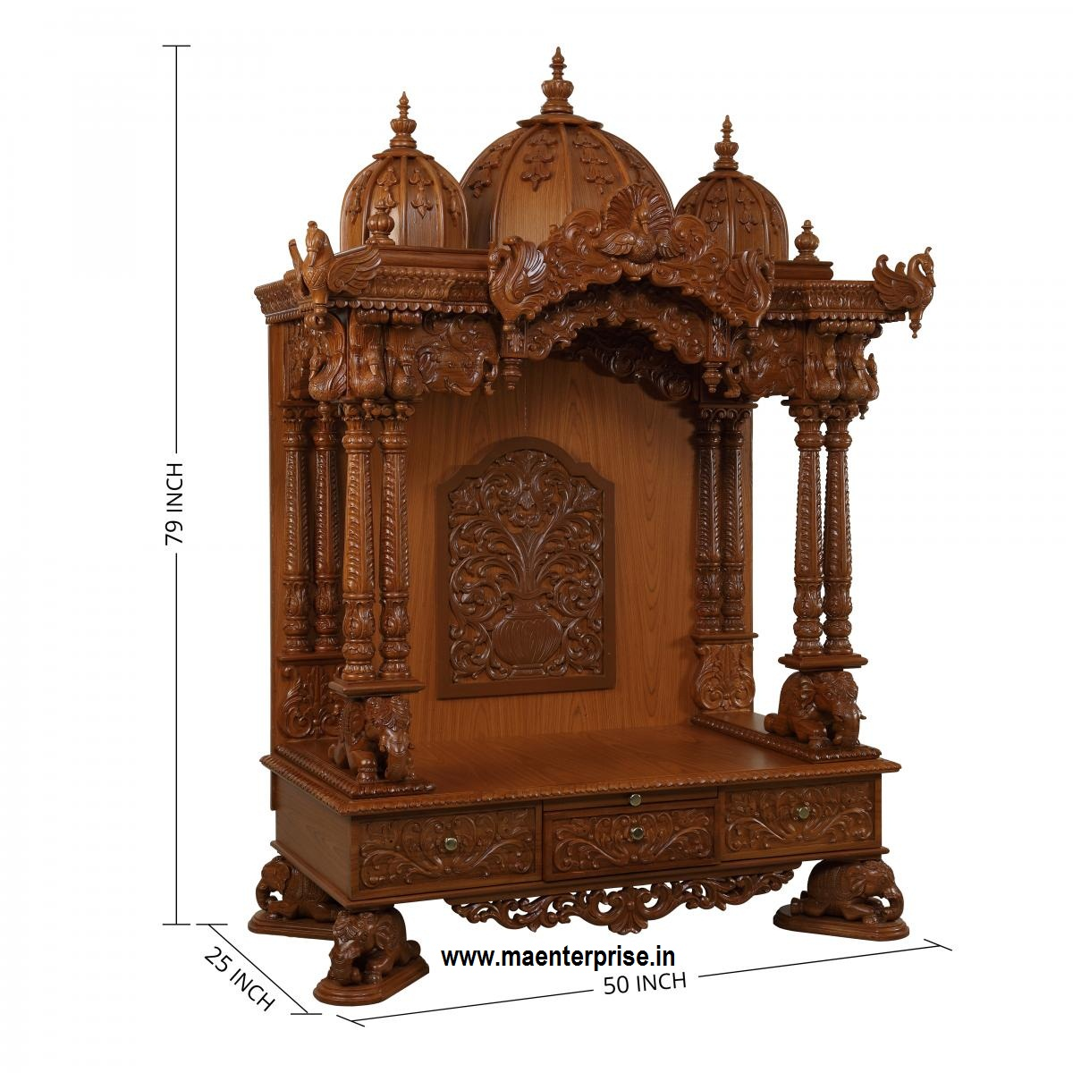 Wooden temple designs for home small temple for home wooden home - Wooden Temple For Home H 5ft L 4 Ft D 2 Ft Image Description