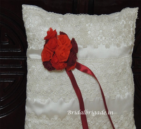 lace ring pillows from Bridal Brigade Bangalore