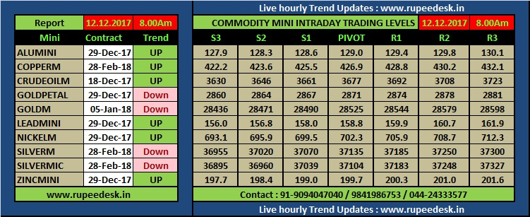 MINI MCX Commodity Support and Resistance Levels