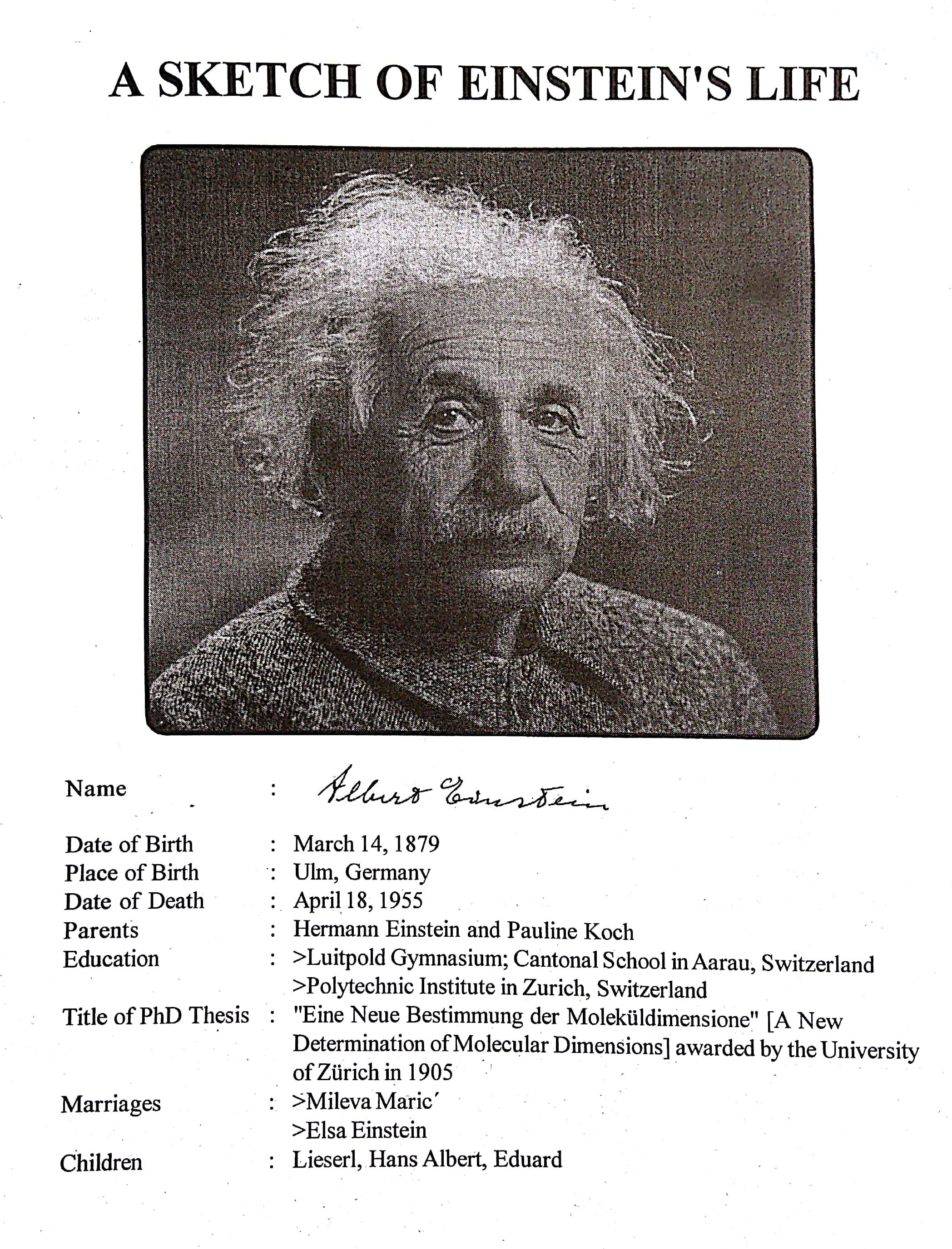 Einstein's Life