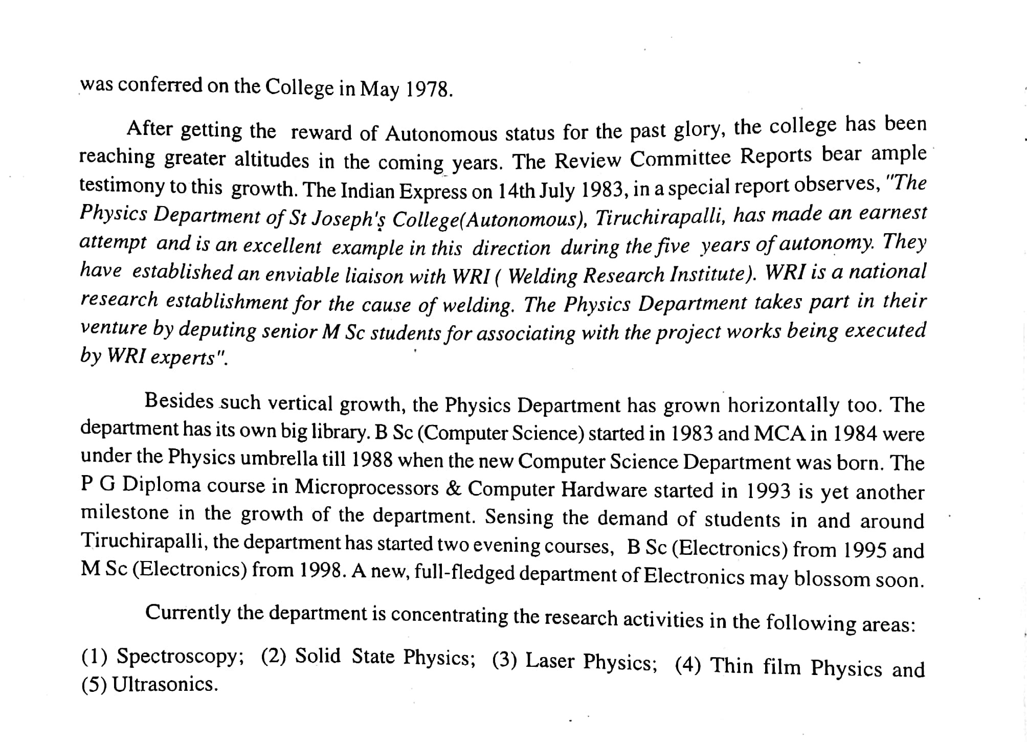 History of the Physics Department of St Joseph's College